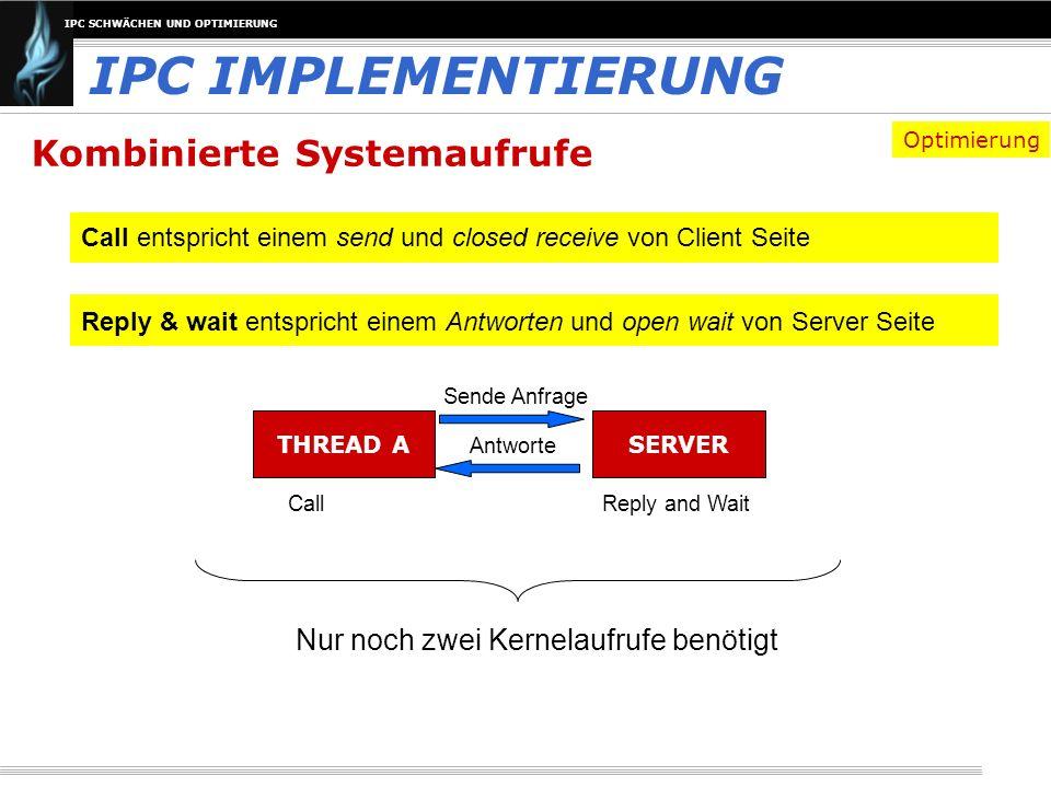 IPC SCHWÄCHEN UND OPTIMIERUNG Kombinierte Systemaufrufe IPC IMPLEMENTIERUNG Call entspricht einem send und closed receive von Client Seite Reply & wai