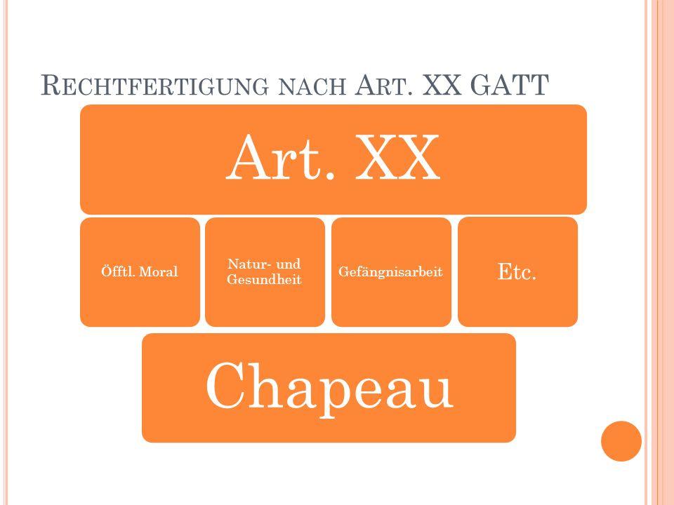 R ECHTFERTIGUNG NACH A RT. XX GATT Art. XXChapeau Öfftl.