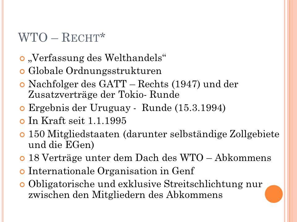 WTO – R ECHT * Verfassung des Welthandels Globale Ordnungsstrukturen Nachfolger des GATT – Rechts (1947) und der Zusatzverträge der Tokio- Runde Ergebnis der Uruguay - Runde (15.3.1994) In Kraft seit 1.1.1995 150 Mitgliedstaaten (darunter selbständige Zollgebiete und die EGen) 18 Verträge unter dem Dach des WTO – Abkommens Internationale Organisation in Genf Obligatorische und exklusive Streitschlichtung nur zwischen den Mitgliedern des Abkommens