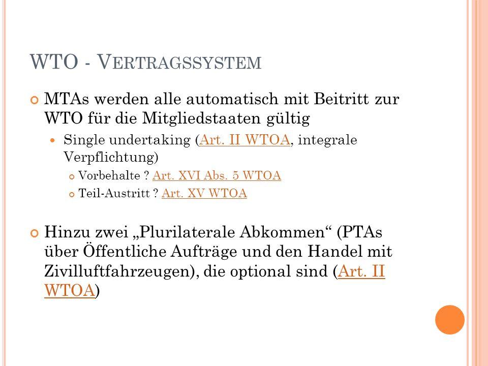 WTO - V ERTRAGSSYSTEM MTAs werden alle automatisch mit Beitritt zur WTO für die Mitgliedstaaten gültig Single undertaking (Art.