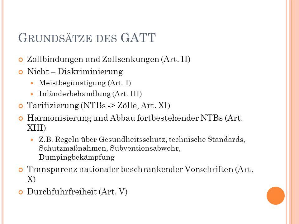 G RUNDSÄTZE DES GATT Zollbindungen und Zollsenkungen (Art.