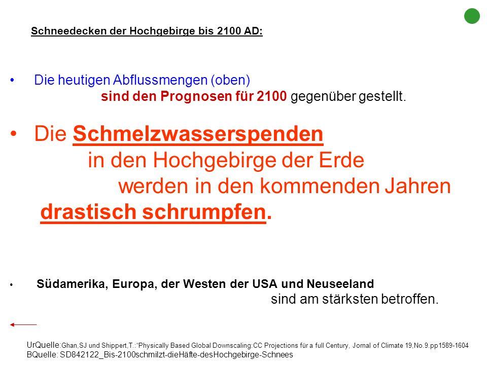 heute ___________ 2100 AD Schmelzwasserspenden der Hochgebirge: Verluste bis 2100 AD UrQuelle: Ghan,SJ und Shippert,T.:Physically Based Global Downsca