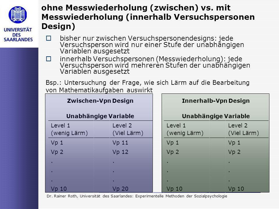 Dr. Rainer Roth, Universität des Saarlandes: Experimentelle Methoden der Sozialpsychologie ohne Messwiederholung (zwischen) vs. mit Messwiederholung (