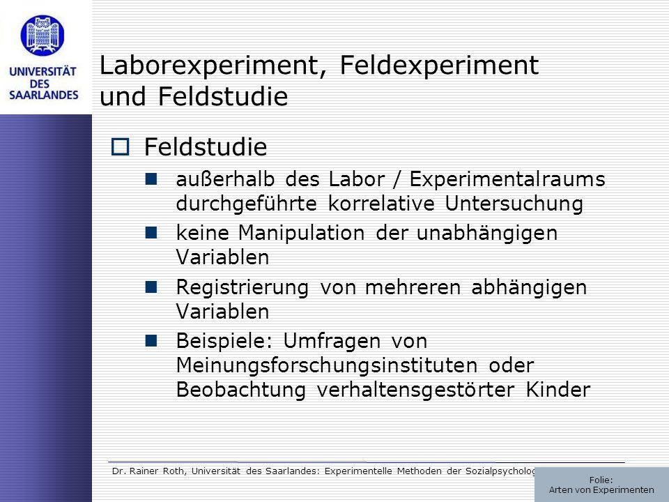 Dr. Rainer Roth, Universität des Saarlandes: Experimentelle Methoden der Sozialpsychologie Laborexperiment, Feldexperiment und Feldstudie Feldstudie a