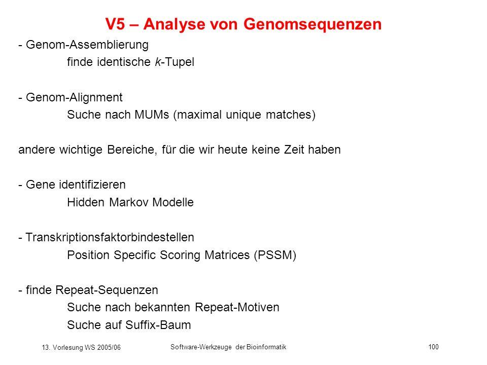 13. Vorlesung WS 2005/06 Software-Werkzeuge der Bioinformatik100 V5 – Analyse von Genomsequenzen - Genom-Assemblierung finde identische k-Tupel - Geno