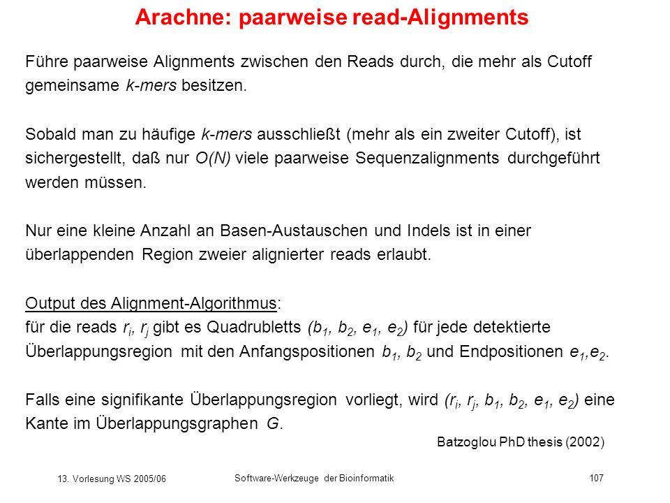13. Vorlesung WS 2005/06 Software-Werkzeuge der Bioinformatik107 Arachne: paarweise read-Alignments Führe paarweise Alignments zwischen den Reads durc