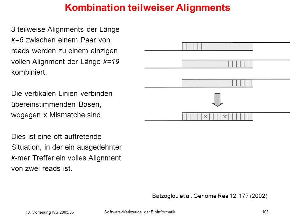 13. Vorlesung WS 2005/06 Software-Werkzeuge der Bioinformatik108 Kombination teilweiser Alignments 3 teilweise Alignments der Länge k=6 zwischen einem