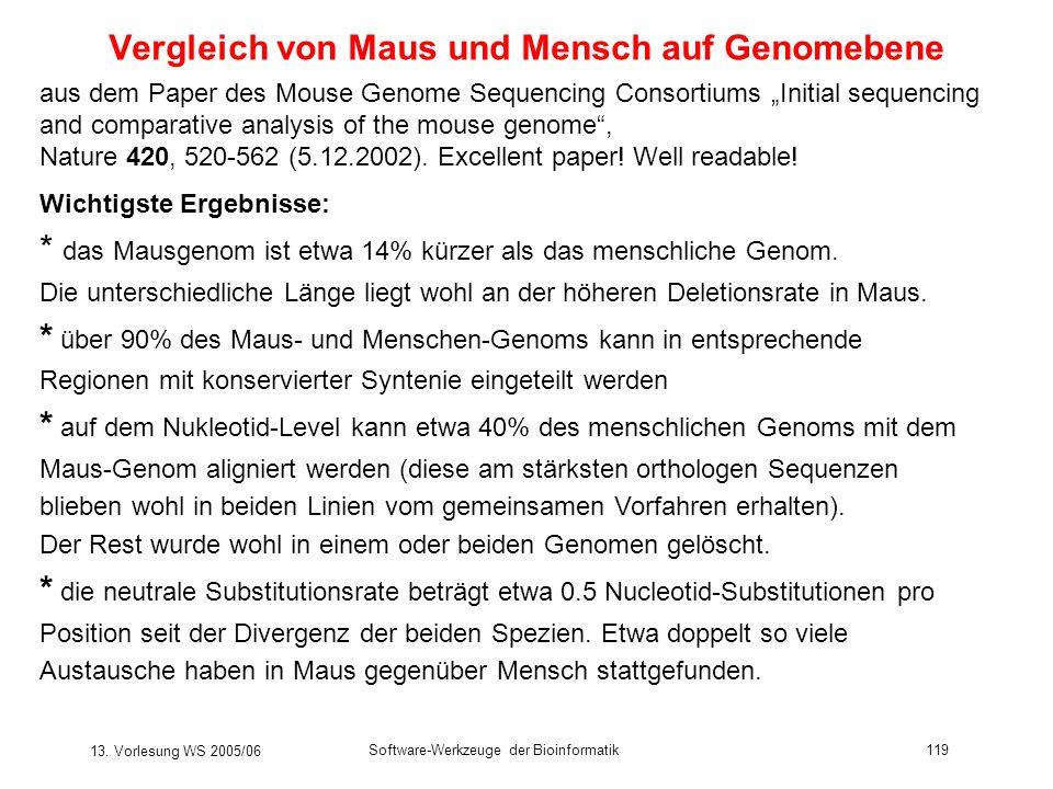 13. Vorlesung WS 2005/06 Software-Werkzeuge der Bioinformatik119 Vergleich von Maus und Mensch auf Genomebene Wichtigste Ergebnisse: * das Mausgenom i