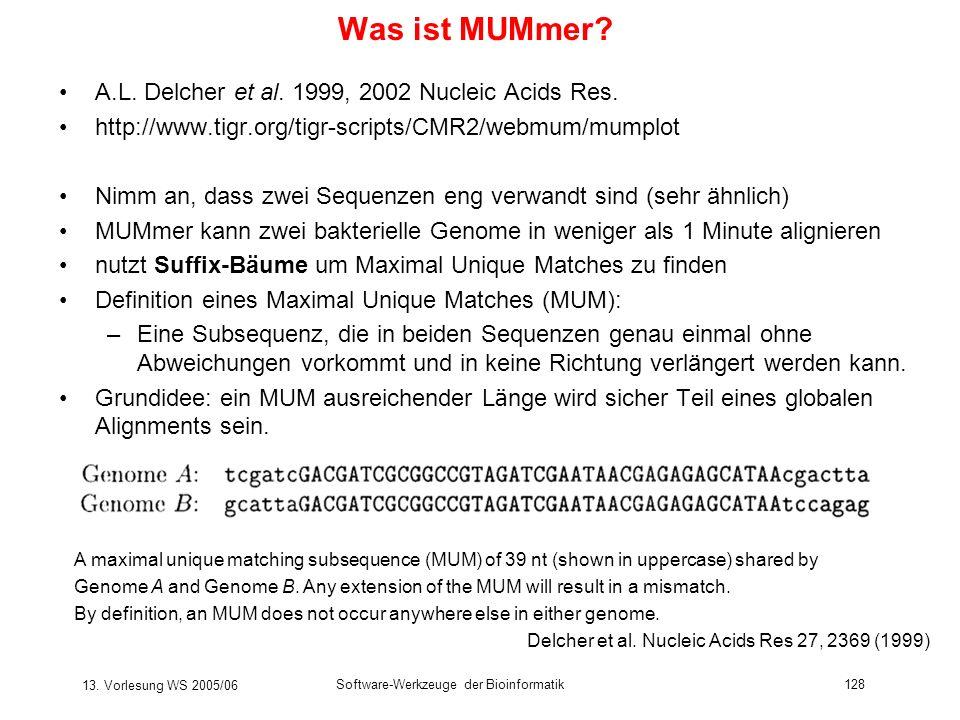 13. Vorlesung WS 2005/06 Software-Werkzeuge der Bioinformatik128 Was ist MUMmer? A.L. Delcher et al. 1999, 2002 Nucleic Acids Res. http://www.tigr.org