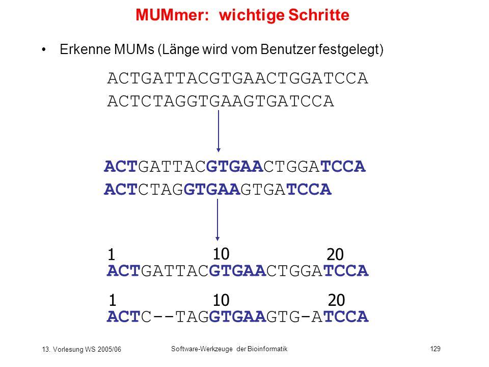 13. Vorlesung WS 2005/06 Software-Werkzeuge der Bioinformatik129 MUMmer: wichtige Schritte Erkenne MUMs (L ä nge wird vom Benutzer festgelegt) ACTGATT