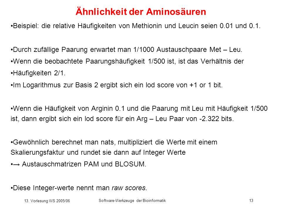 13. Vorlesung WS 2005/06 Software-Werkzeuge der Bioinformatik13 Ähnlichkeit der Aminosäuren Beispiel: die relative Häufigkeiten von Methionin und Leuc