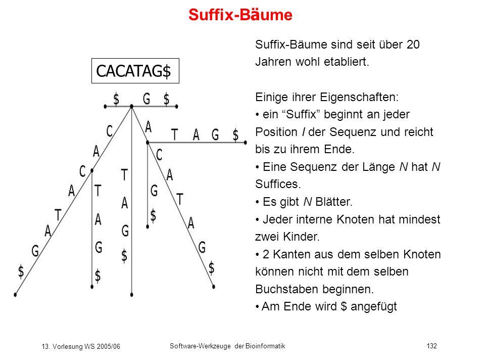 13. Vorlesung WS 2005/06 Software-Werkzeuge der Bioinformatik132 Suffix-B ä ume CACATAG$ Suffix-Bäume sind seit über 20 Jahren wohl etabliert. Einige