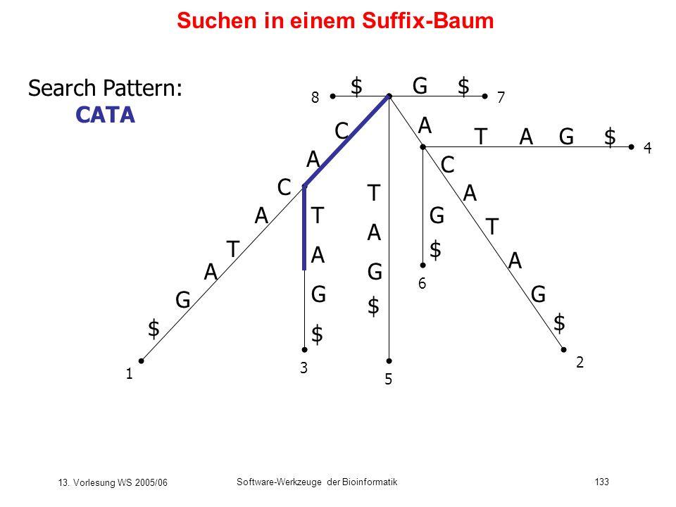 13. Vorlesung WS 2005/06 Software-Werkzeuge der Bioinformatik133 Suchen in einem Suffix-Baum C A T C A G $ A T C A G $ T T A G $ G $ A A TG$A G $ G$$