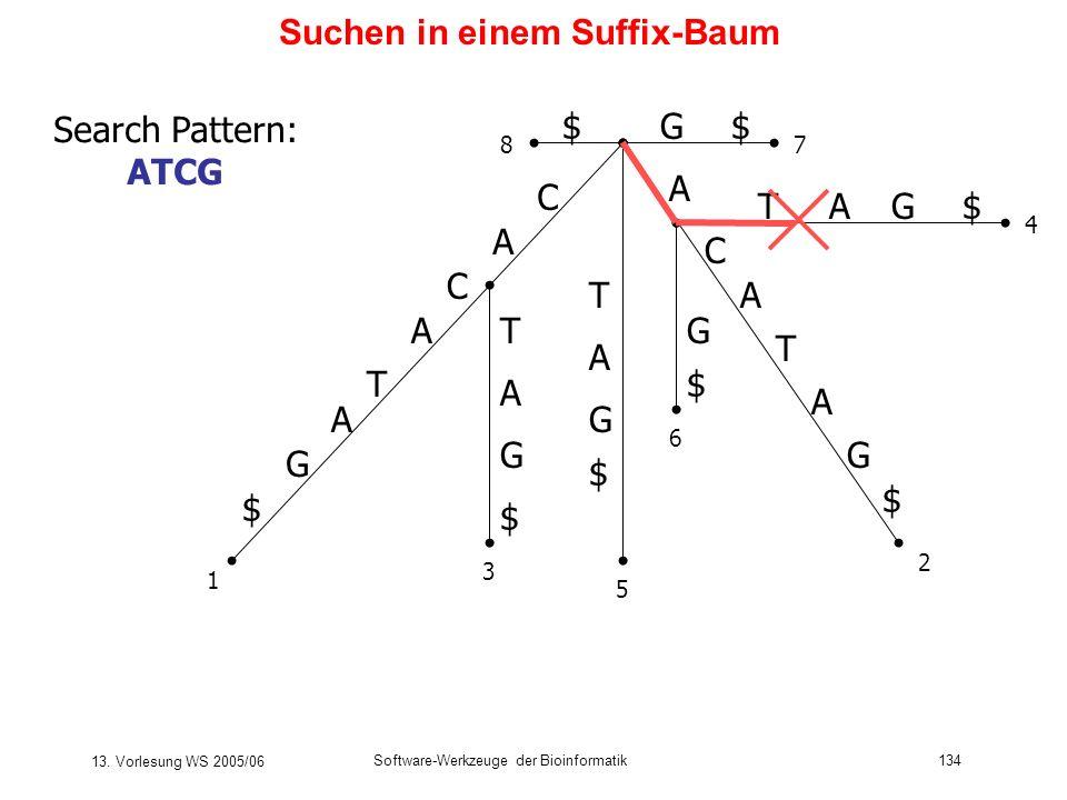 13. Vorlesung WS 2005/06 Software-Werkzeuge der Bioinformatik134 Suchen in einem Suffix-Baum C A T C A G $ A T C A G $ T T A G $ G $ A A TG$A G $ G$$