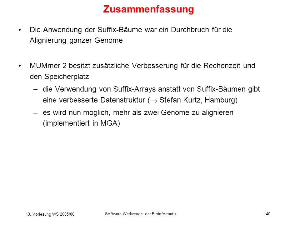 13. Vorlesung WS 2005/06 Software-Werkzeuge der Bioinformatik140 Zusammenfassung Die Anwendung der Suffix-Bäume war ein Durchbruch für die Alignierung