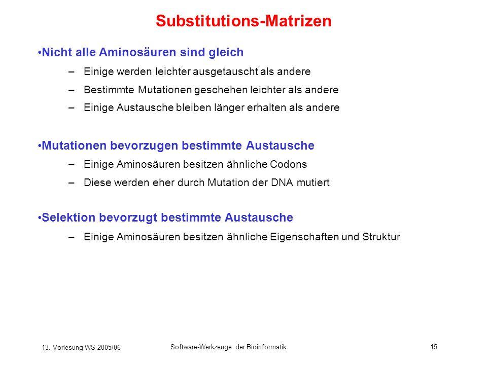13. Vorlesung WS 2005/06 Software-Werkzeuge der Bioinformatik15 Substitutions-Matrizen Nicht alle Aminosäuren sind gleich –Einige werden leichter ausg