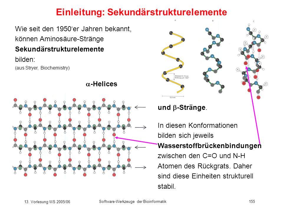 13. Vorlesung WS 2005/06 Software-Werkzeuge der Bioinformatik155 Wie seit den 1950er Jahren bekannt, können Aminosäure-Stränge Sekundärstrukturelement