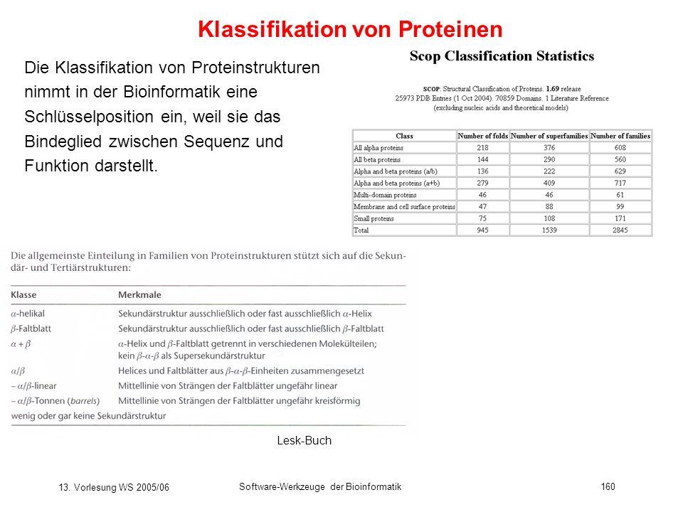 13. Vorlesung WS 2005/06 Software-Werkzeuge der Bioinformatik160 Die Klassifikation von Proteinstrukturen nimmt in der Bioinformatik eine Schlüsselpos
