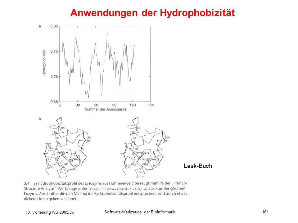 13. Vorlesung WS 2005/06 Software-Werkzeuge der Bioinformatik161 Lesk-Buch Anwendungen der Hydrophobizität