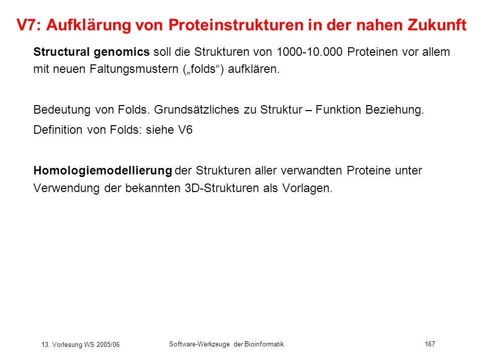 13. Vorlesung WS 2005/06 Software-Werkzeuge der Bioinformatik167 V7: Aufklärung von Proteinstrukturen in der nahen Zukunft Structural genomics soll di