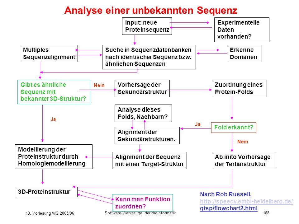 13. Vorlesung WS 2005/06 Software-Werkzeuge der Bioinformatik168 Analyse einer unbekannten Sequenz Suche in Sequenzdatenbanken nach identischer Sequen