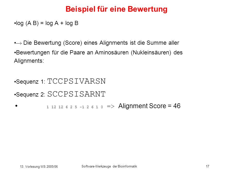 13. Vorlesung WS 2005/06 Software-Werkzeuge der Bioinformatik17 Beispiel für eine Bewertung log (A B) = log A + log B Die Bewertung (Score) eines Alig