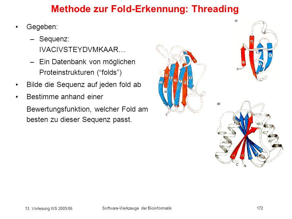 13. Vorlesung WS 2005/06 Software-Werkzeuge der Bioinformatik172 Methode zur Fold-Erkennung: Threading Gegeben: –Sequenz: IVACIVSTEYDVMKAAR… –Ein Date