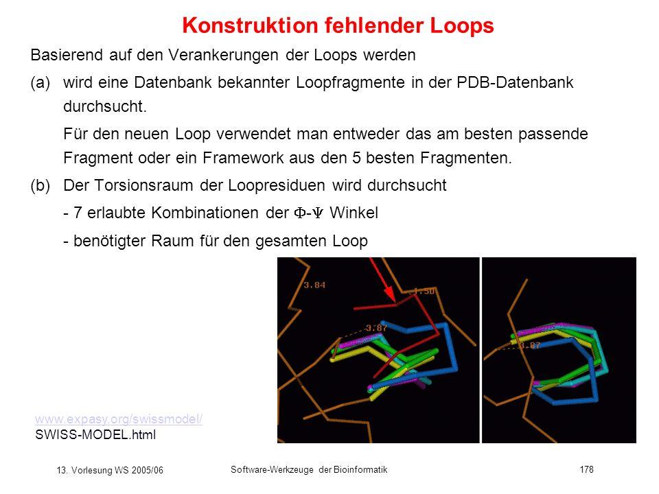 13. Vorlesung WS 2005/06 Software-Werkzeuge der Bioinformatik178 Basierend auf den Verankerungen der Loops werden (a)wird eine Datenbank bekannter Loo