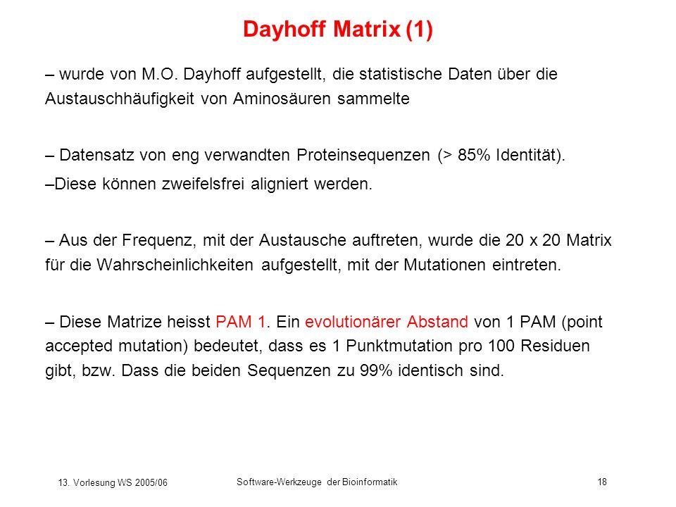 13. Vorlesung WS 2005/06 Software-Werkzeuge der Bioinformatik18 Dayhoff Matrix (1) – wurde von M.O. Dayhoff aufgestellt, die statistische Daten über d