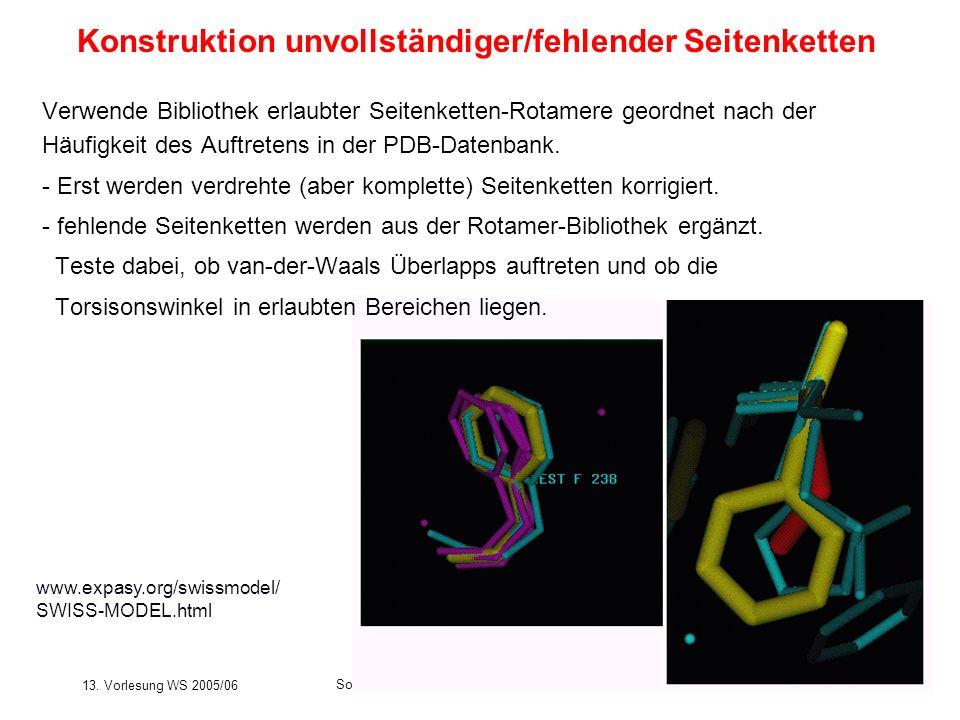 13. Vorlesung WS 2005/06 Software-Werkzeuge der Bioinformatik180 Verwende Bibliothek erlaubter Seitenketten-Rotamere geordnet nach der Häufigkeit des