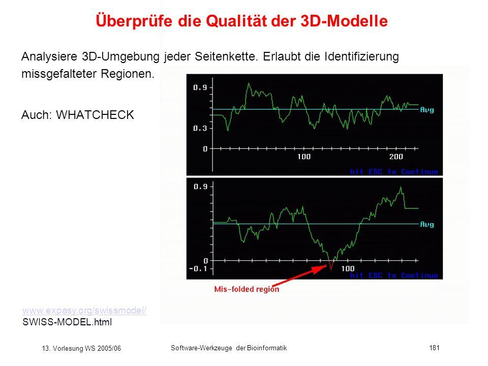 13. Vorlesung WS 2005/06 Software-Werkzeuge der Bioinformatik181 Überprüfe die Qualität der 3D-Modelle Analysiere 3D-Umgebung jeder Seitenkette. Erlau