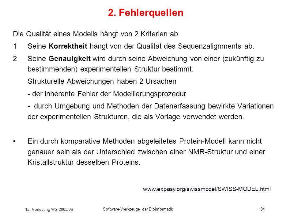 13. Vorlesung WS 2005/06 Software-Werkzeuge der Bioinformatik184 2. Fehlerquellen Die Qualität eines Modells hängt von 2 Kriterien ab 1Seine Korrekthe