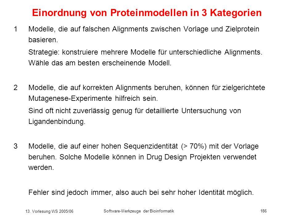 13. Vorlesung WS 2005/06 Software-Werkzeuge der Bioinformatik186 Einordnung von Proteinmodellen in 3 Kategorien 1Modelle, die auf falschen Alignments