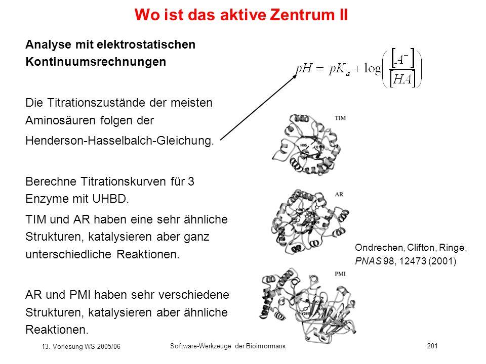 13. Vorlesung WS 2005/06 Software-Werkzeuge der Bioinformatik201 Wo ist das aktive Zentrum II Analyse mit elektrostatischen Kontinuumsrechnungen Die T