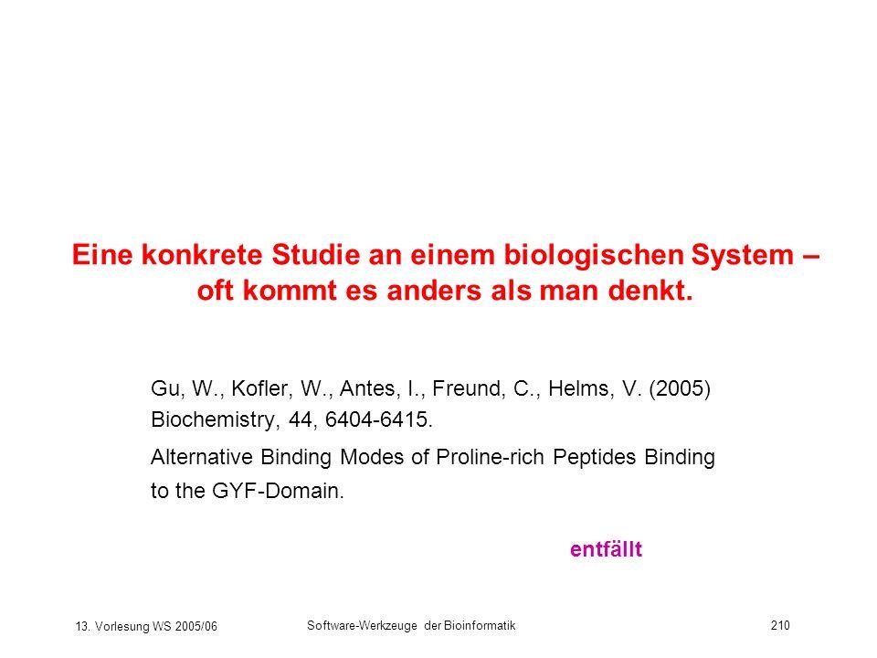13. Vorlesung WS 2005/06 Software-Werkzeuge der Bioinformatik210 Eine konkrete Studie an einem biologischen System – oft kommt es anders als man denkt