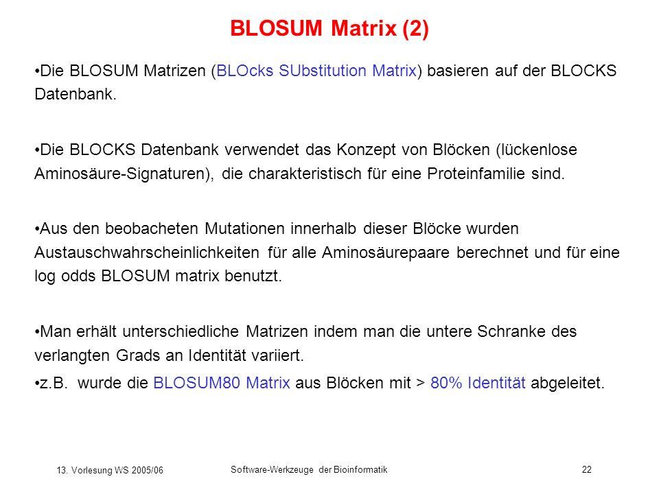 13. Vorlesung WS 2005/06 Software-Werkzeuge der Bioinformatik22 BLOSUM Matrix (2) Die BLOSUM Matrizen (BLOcks SUbstitution Matrix) basieren auf der BL