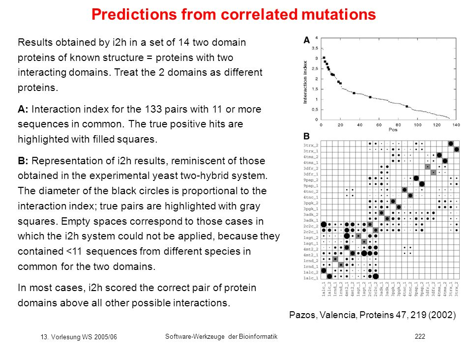 13. Vorlesung WS 2005/06 Software-Werkzeuge der Bioinformatik222 Predictions from correlated mutations Results obtained by i2h in a set of 14 two doma