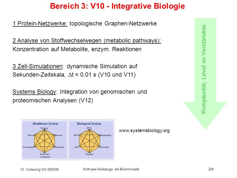 13. Vorlesung WS 2005/06 Software-Werkzeuge der Bioinformatik228 Bereich 3: V10 - Integrative Biologie 1 Protein-Netzwerke: topologische Graphen-Netzw