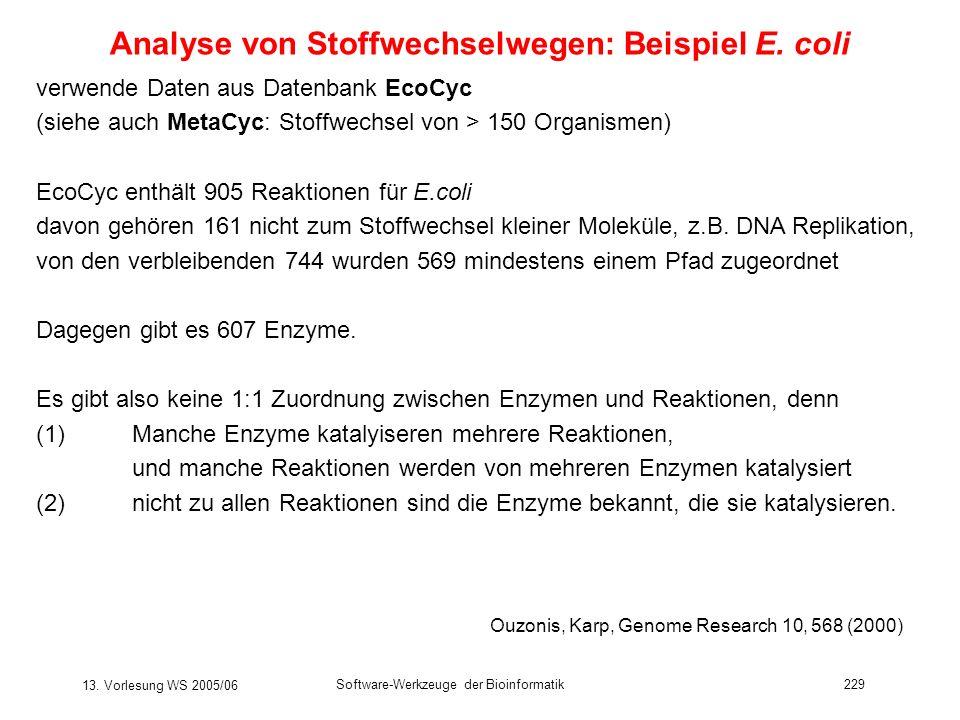 13. Vorlesung WS 2005/06 Software-Werkzeuge der Bioinformatik229 Analyse von Stoffwechselwegen: Beispiel E. coli verwende Daten aus Datenbank EcoCyc (