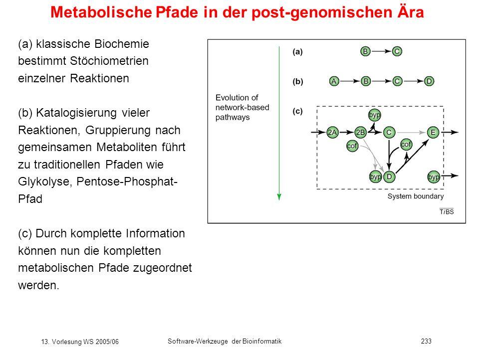 13. Vorlesung WS 2005/06 Software-Werkzeuge der Bioinformatik233 Metabolische Pfade in der post-genomischen Ära (a) klassische Biochemie bestimmt Stöc