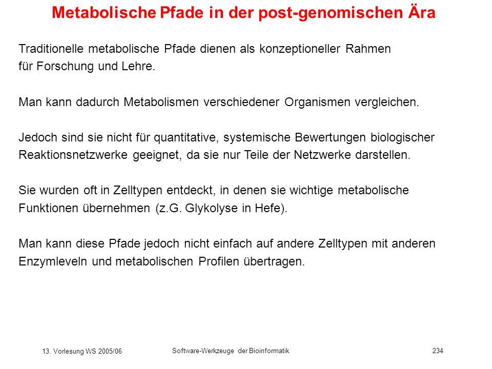 13. Vorlesung WS 2005/06 Software-Werkzeuge der Bioinformatik234 Metabolische Pfade in der post-genomischen Ära Traditionelle metabolische Pfade diene
