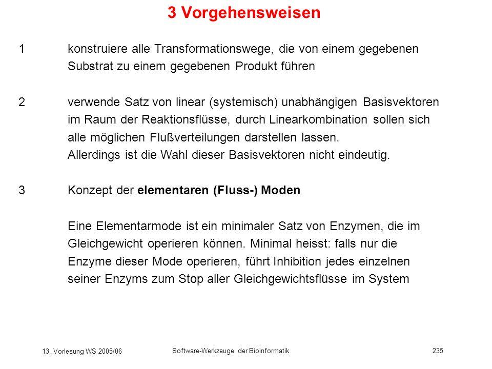 13. Vorlesung WS 2005/06 Software-Werkzeuge der Bioinformatik235 3 Vorgehensweisen 1konstruiere alle Transformationswege, die von einem gegebenen Subs
