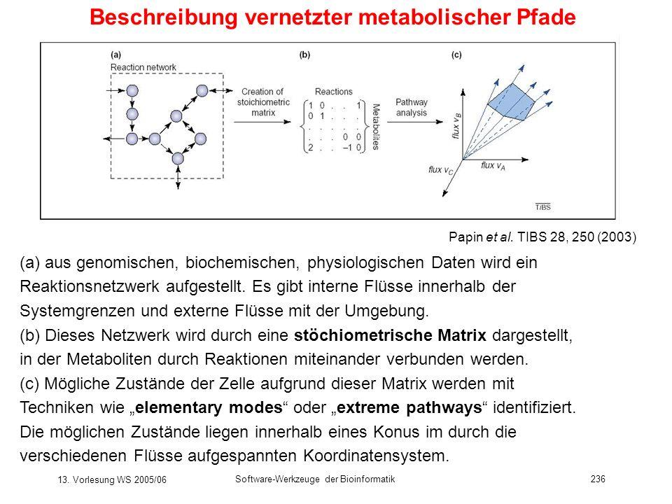 13. Vorlesung WS 2005/06 Software-Werkzeuge der Bioinformatik236 Beschreibung vernetzter metabolischer Pfade (a) aus genomischen, biochemischen, physi