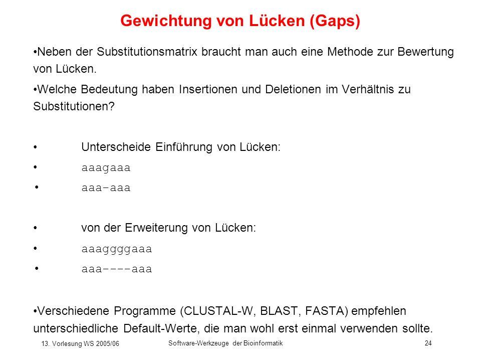 13. Vorlesung WS 2005/06 Software-Werkzeuge der Bioinformatik24 Gewichtung von Lücken (Gaps) Neben der Substitutionsmatrix braucht man auch eine Metho
