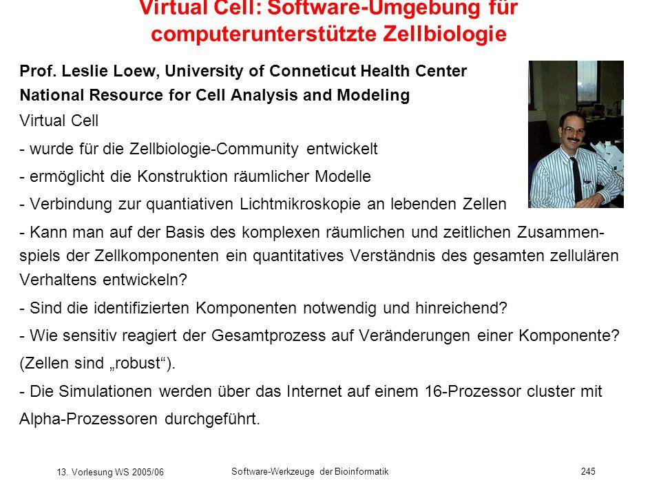 13. Vorlesung WS 2005/06 Software-Werkzeuge der Bioinformatik245 Virtual Cell: Software-Umgebung für computerunterstützte Zellbiologie Prof. Leslie Lo