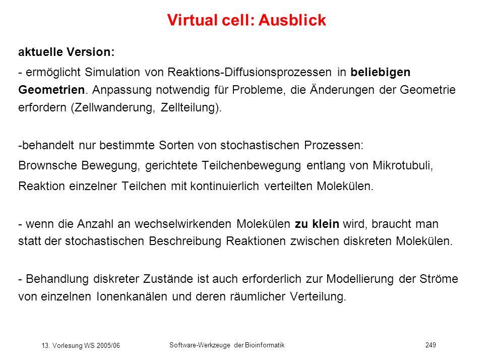 13. Vorlesung WS 2005/06 Software-Werkzeuge der Bioinformatik249 Virtual cell: Ausblick aktuelle Version: - ermöglicht Simulation von Reaktions-Diffus