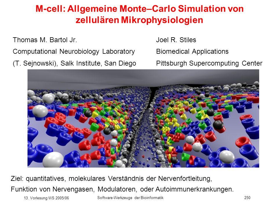 13. Vorlesung WS 2005/06 Software-Werkzeuge der Bioinformatik250 M-cell: Allgemeine Monte–Carlo Simulation von zellulären Mikrophysiologien Thomas M.