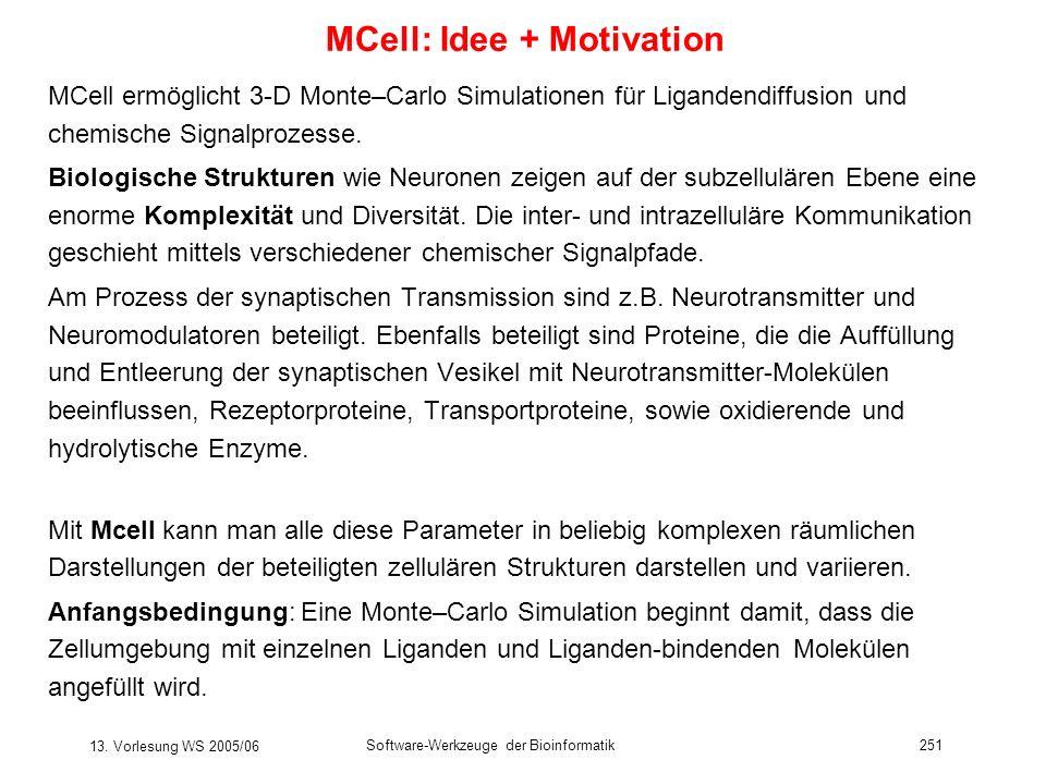 13. Vorlesung WS 2005/06 Software-Werkzeuge der Bioinformatik251 MCell: Idee + Motivation MCell ermöglicht 3-D Monte–Carlo Simulationen für Ligandendi