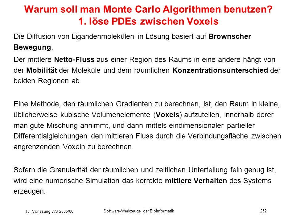 13. Vorlesung WS 2005/06 Software-Werkzeuge der Bioinformatik252 Warum soll man Monte Carlo Algorithmen benutzen? 1. löse PDEs zwischen Voxels Die Dif