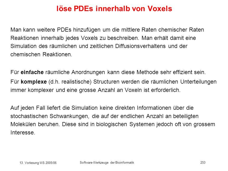 13. Vorlesung WS 2005/06 Software-Werkzeuge der Bioinformatik253 löse PDEs innerhalb von Voxels Man kann weitere PDEs hinzufügen um die mittlere Raten